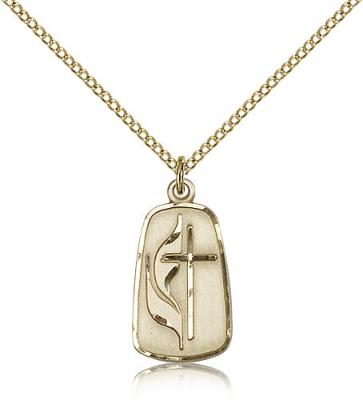 "Gold Filled Methodist Pendant, Gold Filled Lite Curb Chain, 7/8"" x 3/8"""