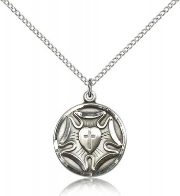 "Sterling Silver Lutheran Pendant, Sterling Silver Lite Curb Chain, 3/4"" x 5/8"""