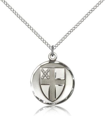 "Sterling Silver Episcopal Pendant, Sterling Silver Lite Curb Chain, 7/8"" x 3/4"""