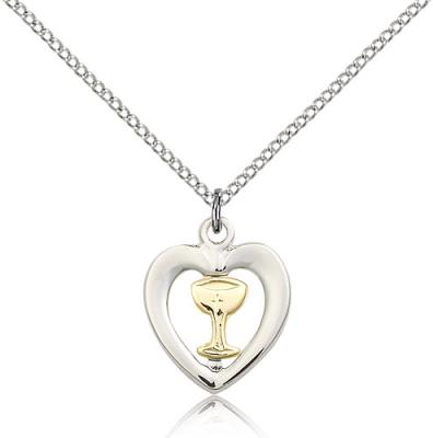"Two-Tone GF/SS Chalice / Heart Pendant, Sterling Silver Lite Curb Chain, 5/8"" x 1/2"""
