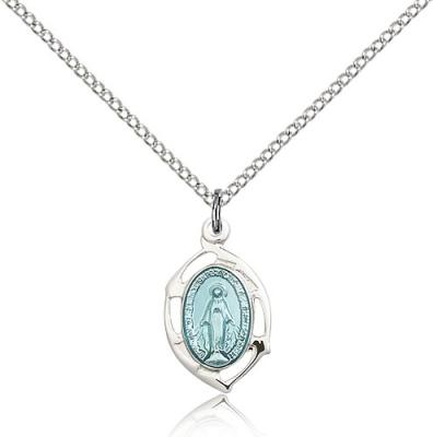 "Sterling Silver Miraculous Pendant, Sterling Silver Lite Curb Chain, 3/4"" x 3/8"""