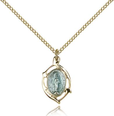 "Two-Tone SS/GP Miraculous Pendant, Gold Filled Lite Curb Chain, 3/4"" x 3/8"""