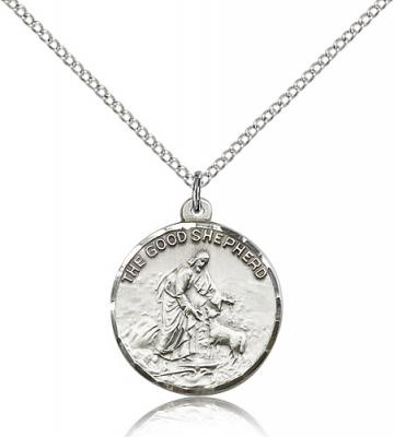 "Sterling Silver Good Shepherd Pendant, Sterling Silver Lite Curb Chain, 7/8"" x 3/4"""
