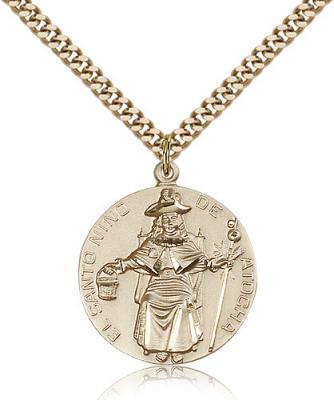 "Gold Filled St. Niño de Atocha Pendant, Stainless Gold Heavy Curb Chain, 1"" x 7/8"""
