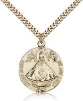 "Gold Filled Senora de Los Lagos Pendant, Stainless Gold Heavy Curb Chain, 1"" x 7/8"""