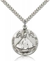 "Sterling Silver Senora de Los Lagos Pendant, Stainless Silver Heavy Curb Chain, 1"" x 7/8"""