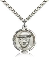 "Sterling Silver Blessed Damian of Molokai Pendant, Stainless Silver Heavy Curb Chain, 7/8"" x 3/4"""