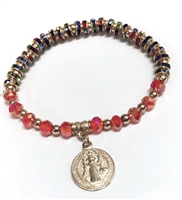 Saint Benedict Key Charm Multi-Color Bead Bracelet