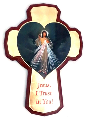 Divine Mercy Wall Mount Cross - Made in Italy