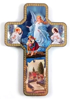 Guardian Angel Cross Wood Plaque