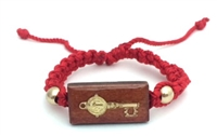 Red Adjustable Bracelet with Saint Benedict Key Wood Charm 470-39