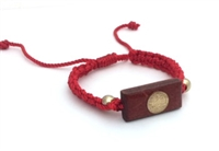 Red Adjustable Bracelet with Saint Benedict Wood Charm 470-40
