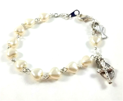 First Communion Pearl Heart Shape Bead Bracelet