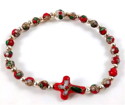 Red Cloisonne Bead Cross Rosary Bracelet