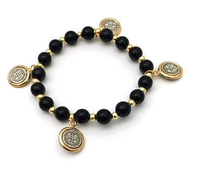 Saint Benedict Charm Bracelet with Black and Gold Beads 48-840