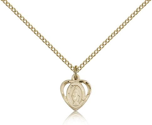 "Gold Filled Miraculous Pendant, Gold Filled Lite Curb Chain, 3/8"" x 3/8"""