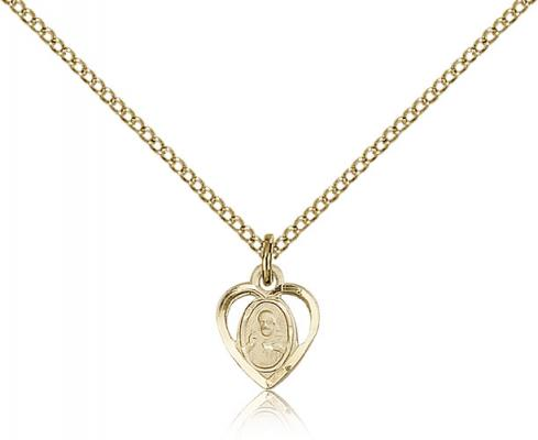 "Gold Filled Scapular Pendant, Gold Filled Lite Curb Chain, 3/8"" x 3/8"""