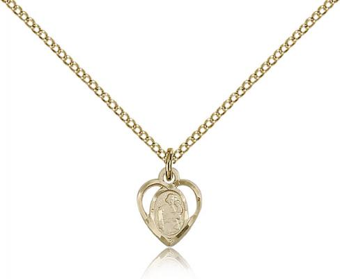 "Gold Filled St. Joseph Pendant, Gold Filled Lite Curb Chain, 3/8"" x 1/4"""