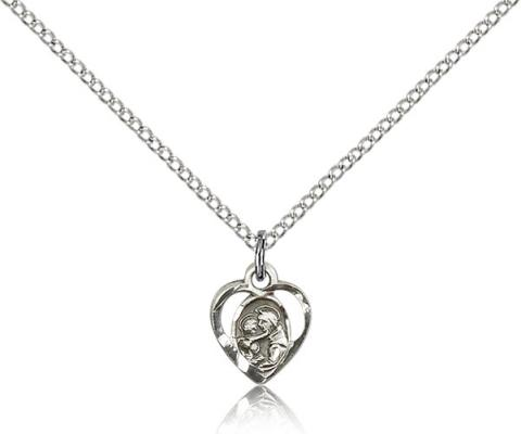 "Sterling Silver St. Anthony of Padua Pendant, Sterling Silver Lite Curb Chain, 3/8"" x 3/8"""