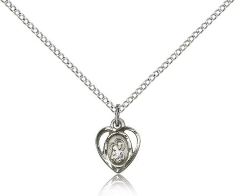 "Sterling Silver Our Lady of Perpetual Health Pendant, Sterling Silver Lite Curb Chain, 3/8"" x 1/4"""