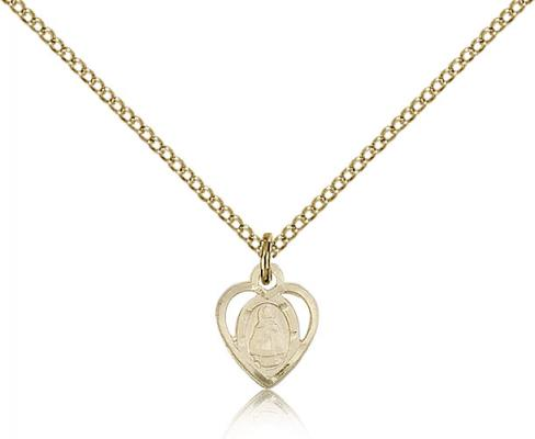 "Gold Filled Infant Pendant, Gold Filled Lite Curb Chain, 3/8"" x 1/4"""