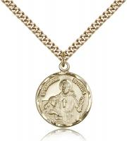 "Gold Filled St. Camillus of Lellis Pendant, Stainless Gold Heavy Curb Chain, 7/8"" x 3/4"""