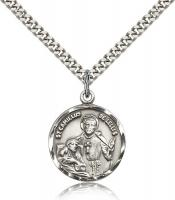 "Sterling Silver St. Camillus of Lellis Pendant, Stainless Silver Heavy Curb Chain, 7/8"" x 3/4"""