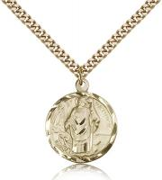 "Gold Filled St. Patrick Pendant, Stainless Gold Heavy Curb Chain, 7/8"" x 3/4"""