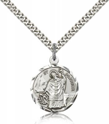 "Sterling Silver St. Patrick Pendant, Stainless Silver Heavy Curb Chain, 7/8"" x 3/4"""