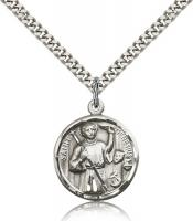 "Sterling Silver Genesius Pendant, Stainless Silver Heavy Curb Chain, 7/8"" x 3/4"""
