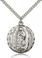 "Sterling Silver Our Lady of Guadalupe Pendant, Stainless Silver Heavy Curb Chain, 1 1/4"" x 1"""