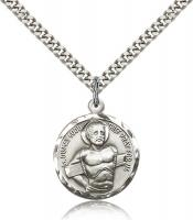 "Sterling Silver Dismas Pendant, Stainless Silver Heavy Curb Chain, 7/8"" x 3/4"""