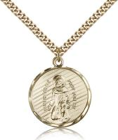 "Gold Filled St. Perregrine Pendant, Stainless Gold Heavy Curb Chain, 1"" x 7/8"""