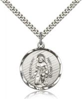 "Sterling Silver St. Perregrine Pendant, Stainless Silver Heavy Curb Chain, 1"" x 7/8"""