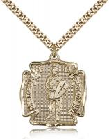 "Gold Filled St. Florian Pendant, Stainless Gold Heavy Curb Chain, 1 1/8"" x 1"""