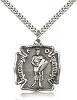 "Sterling Silver St. Florian Pendant, Stainless Silver Heavy Curb Chain, 1 1/8"" x 1"""