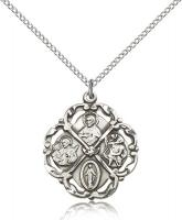 "Sterling Silver 5-Way Pendant, Sterling Silver Lite Curb Chain, 1"" x 7/8"""