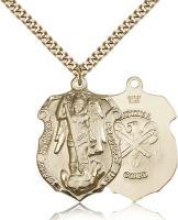 "Gold Filled St. Michael the Archangel Pendant, Stainless Gold Heavy Curb Chain, 1 1/4"" x 7/8"""