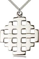 "Sterling Silver Jerusalem Cross Pendant, Stainless Silver Heavy Curb Chain, 2 1/4"" x 2"