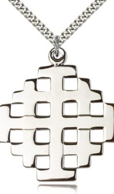 "Sterling Silver Cross Pendant, Stainless Silver Heavy Curb Chain, 1 3/4"" x 1 1/2"""