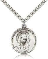 "Sterling Silver Mary Pendant, Stainless Silver Heavy Curb Chain, 1"" x 7/8"""