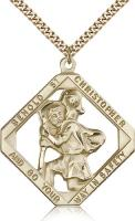 "Gold Filled St. Christopher Pendant, Stainless Gold Heavy Curb Chain, 1 3/4"" x 1 1/2"""