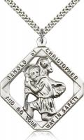 "Sterling Silver St. Christopher Pendant, Stainless Silver Heavy Curb Chain, 1 3/4"" x 1 1/2"""