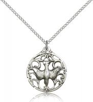 "Sterling Silver Holy Spirit Pendant, Sterling Silver Lite Curb Chain, 7/8"" x 3/4"""