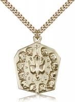 "Gold Filled Apostles Pendant, Stainless Gold Heavy Curb Chain, 1 1/4"" x 1"""