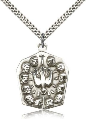 "Sterling Silver Apostles Pendant, Stainless Silver Heavy Curb Chain, 1 1/4"" x 1"""
