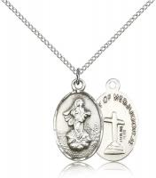 "Sterling Silver Our Lady of Medugorje Pendant, Sterling Silver Lite Curb Chain, 7/8"" x 1/2"""