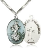 "Sterling Silver Medjugorje Pendant, Stainless Silver Heavy Curb Chain, 1 3/8"" x 7/8"""