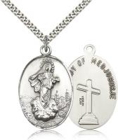 "Sterling Silver Our Lady of Medugorje Pendant, Stainless Silver Heavy Curb Chain, 1 3/8"" x 7/8"""