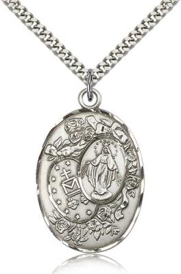 "Sterling Silver Miraculous Pendant, Stainless Silver Heavy Curb Chain, 1 3/8"" x 7/8"""